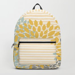 Floral and Stripes Pattern, Yellow, Gray Aqua Backpack