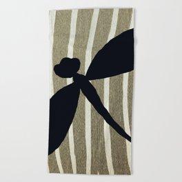 Vintage Zebra Stripe Dragonfly Silhouette Beach Towel