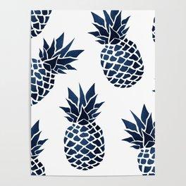 Pineapple Blue Denim Poster