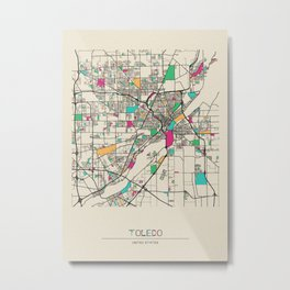 Colorful City Maps: Toledo, Ohio Metal Print