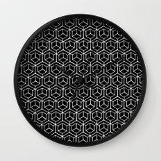 Hand Drawn Hypercube Black Wall Clock
