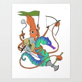 Squid Knight Art Print