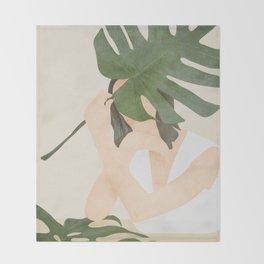 Under the Monstera Leaf Throw Blanket