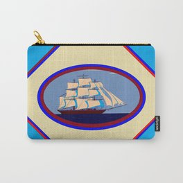A Nautical Scene with Clipper Ship with Sky Blue Background Carry-All Pouch