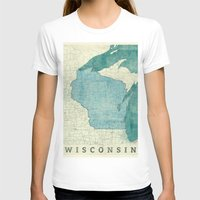 wisconsin T-shirts featuring Wisconsin State Map Blue Vintage by City Art Posters