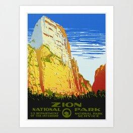 Zion National Park - Vintage Travel Art Print