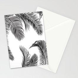Black palm tree leaves pattern Stationery Cards