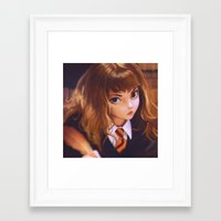 hermione Framed Art Prints featuring Hermione by Mightymike