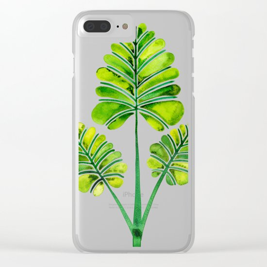 Tropical Palm Leaf Trifecta – Green Palette Clear iPhone Case
