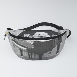 Piano Music Poodle Lotos Flowers black & white Fanny Pack