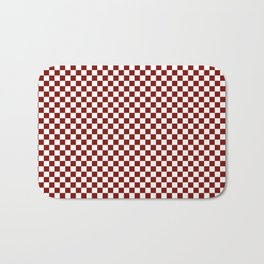 Vintage New England Shaker Barn Red and White Milk Paint Large Square Checker Pattern Bath Mat