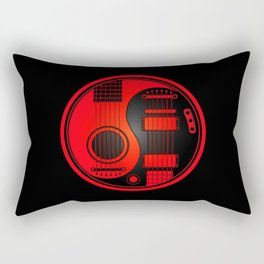 Red and Black Acoustic Electric Yin Yang Guitars Rectangular Pillow