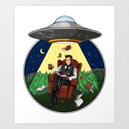 Book Reading Alien Abduction UFO Art Print