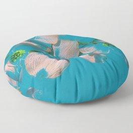 Dogwood Tree Flowers (aqua background) Floor Pillow