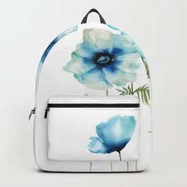 Blue Poppies | Flowers | Watercolour Painting Backpack