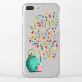 Beau-tea-ful Life Illustration Clear iPhone Case