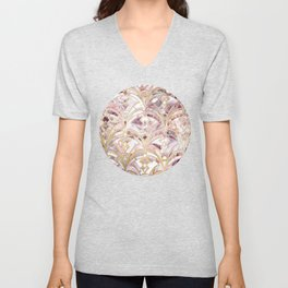 Dusty Rose and Coral Art Deco Marbling Pattern Unisex V-Neck