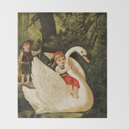 Hansel & Gretel With Swan Throw Blanket