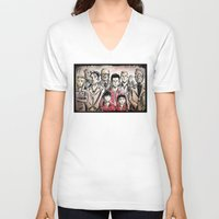 the royal tenenbaums V-neck T-shirts featuring The Royal Tenenbaums by Joe Badon