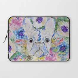 Abstract French bulldog floral watercolor paint Laptop Sleeve