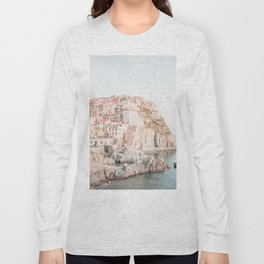 Positano, Italy Amalfi coast pink-peach-white travel photography in hd Long Sleeve T-shirt