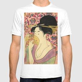 Japanese Art Print - Japanese Woman - Kushi Utamaro T-shirt