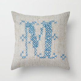 cross-stitch M Throw Pillow