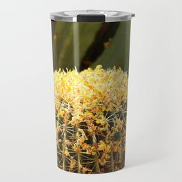 Barrel Cactus Covered In Butter Yellow Palo Brea Blossoms in Portrait Travel Mug