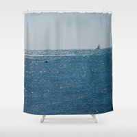 sailing Shower Curtains featuring Sailing by AnnaBobanna