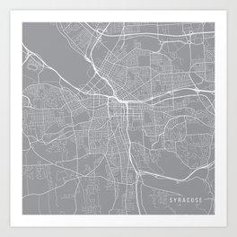 Syracuse Map, New York USA - Pewter Art Print