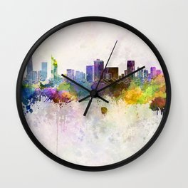 Ho Chi Minh skyline in watercolor background Wall Clock