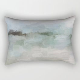 Sage Green Sky Blue Blush Pink Abstract Nature Sunrise Reflection Wall Art Painting Land Sky Earth Rectangular Pillow