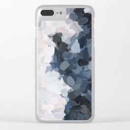 Navy Black Beige Lavender Abstract Art Moonlight Ocean Painting Clear iPhone Case