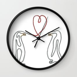 Penguins in love single line drawing Wall Clock