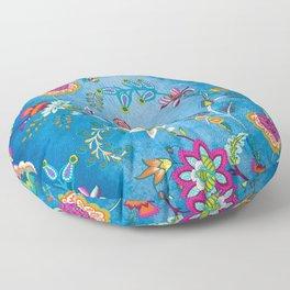 Blue Lapis Velvet Texture Chintz Multicolour Bohemian Floral Pattern Floor Pillow