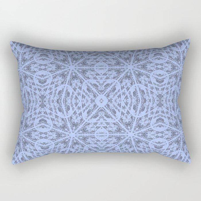 Blue Floral Pattern Rectangular Pillow