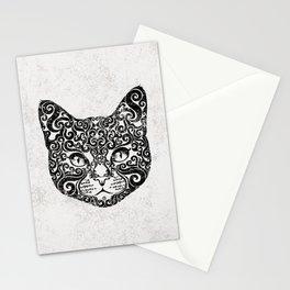 Swirly Cat Portrait (b/w) Stationery Cards