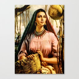 Jesus Helguera Painting of a Mexican Fisher Girl With Basket Canvas Print
