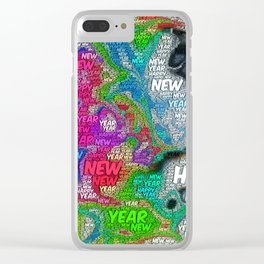 WordArt Happy new year Clear iPhone Case