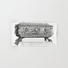 Carved Wooden Box (1862) from Gazette Des Beaux-Arts a French art review Hand & Bath Towel