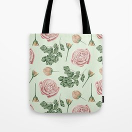 Rose Garden Delight Mint Green + Pink Tote Bag