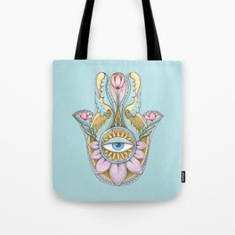 Hamsa On Turquoise Tote Bag