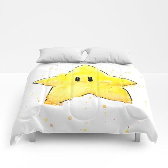 Invincibility Star Mario Watercolor Geek Gamer Art Comforters