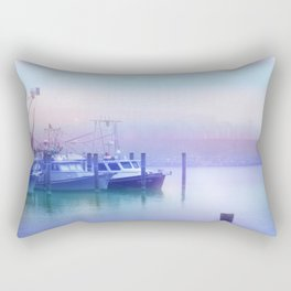 Moored Boats In the Early Morning Fog Rectangular Pillow
