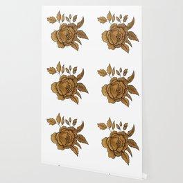 Rose in Gold Wallpaper