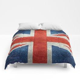 """UK Union Jack flag """"Bright"""" retro grungy style Comforters"""