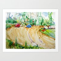 blair waldorf Art Prints featuring Blair Farm Race Track by Bowles Fine Paintings