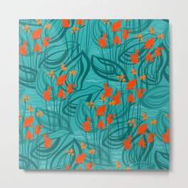Pattern with red water flowers on turquoise green background Metal Print