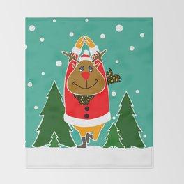 Christmas Deer Practicing Yoga Throw Blanket