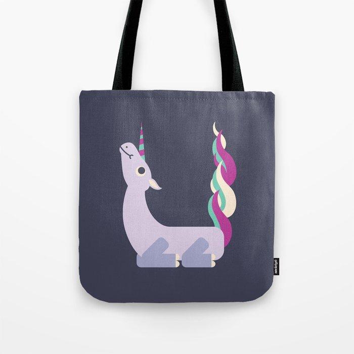 Letter U // Animal Alphabet // Unicorn Monogram Tote Bag